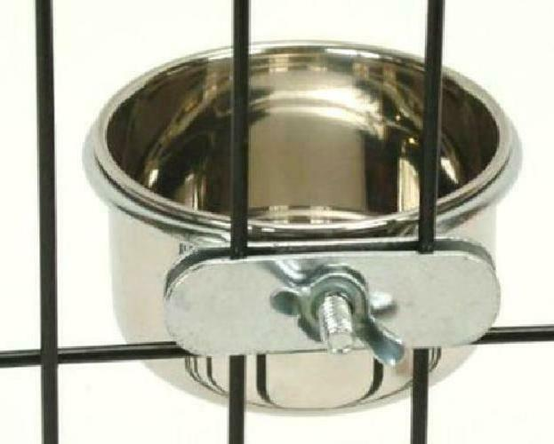 Bird Cups Cage Hanging Bowl Steel Stand wi
