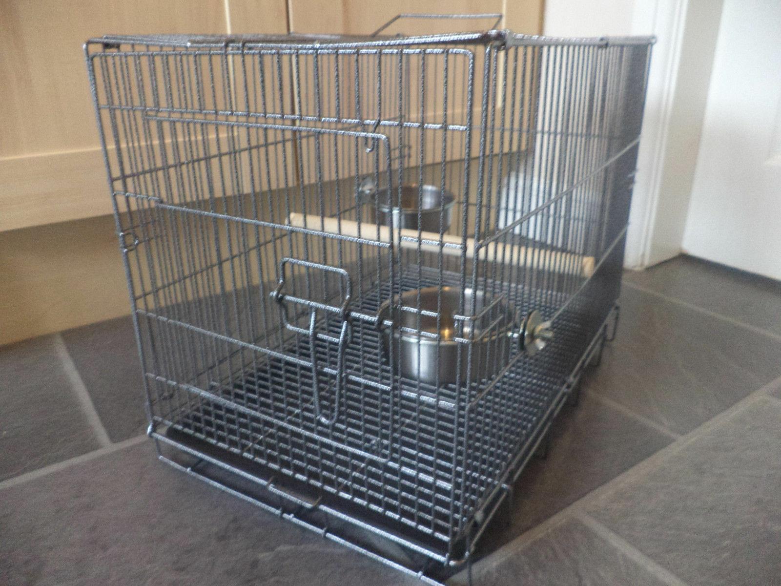 Bird Parakeet Travel Carry Cage Grey