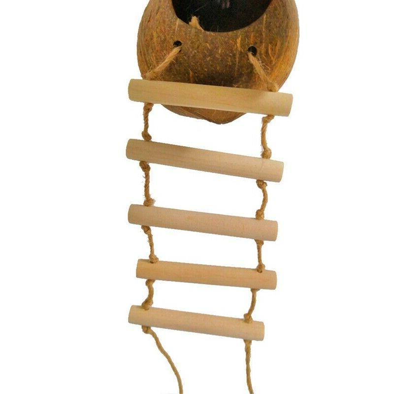 Bird Pet Coconut House Nest w/ Ladder Parrot Resistant Perch