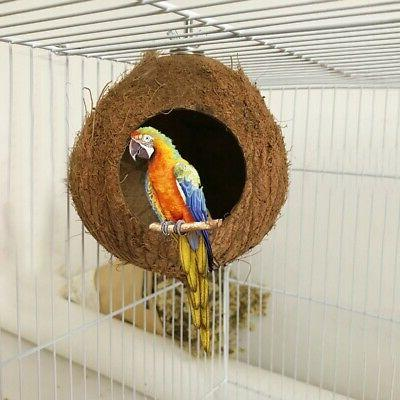 US Natural Coconut Shell Bird House Nest Hut Cage Feeder Pet