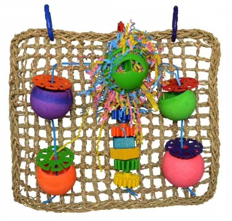 Birds Foraging Toy Hang Creations Seagrass Wooden Slats Cap