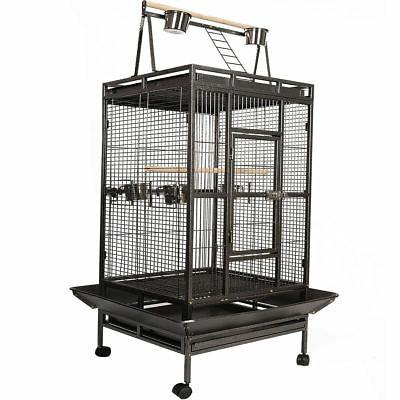 Black Bird Cage Large Play Top Parrot Finch Cage Macaw Cocka