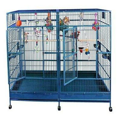 black double macaw bird cage with divider