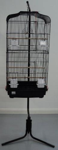 Barcelona Black Pagoda Bird Cage With Stand For Small Birds