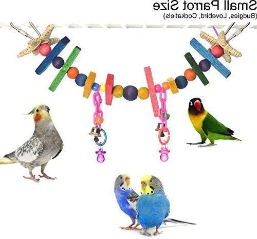 blocks beads swing chew bird