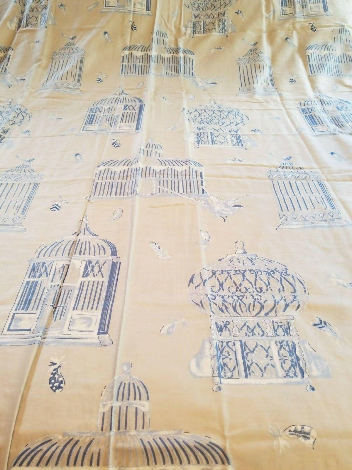 MADAME COCO BLUE BEIGE BIRDS CAGES FEATHERS FULL/DOUBLE DUVE