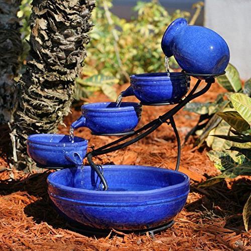 blue ceramic cascade outdoor bird bath fountain