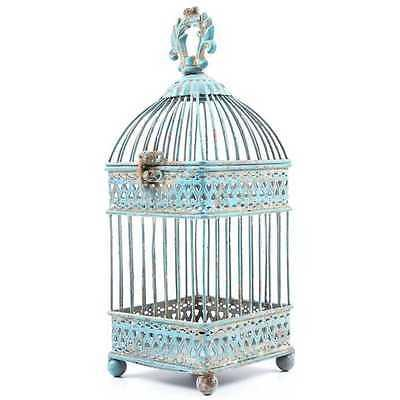 Blue Iron Bird Cage Gorgeous Antique Style Home Decor