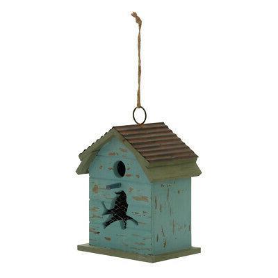blue wood metal birdhouse 7 w 15