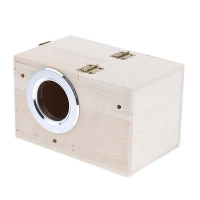 Breeding Wooden Nest Box Nesting Cage House Canary Finch Mac