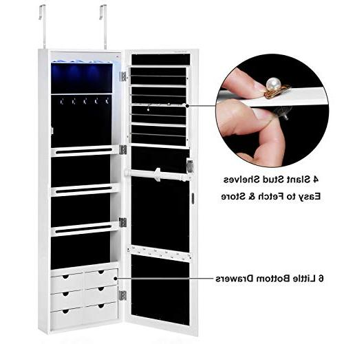 SONGMICS LED Armoire with 6 Lockable Door/Wall Mounted Jewelry Organizer White