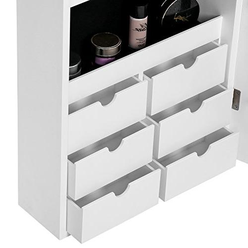 SONGMICS LED Cabinet Armoire with Lockable Mounted Organizer White