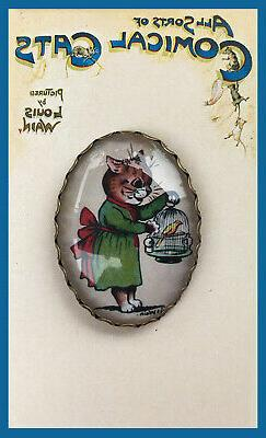 Cat and Bird Cage ~ GLASS OVAL DOME BUTTON  XL Vintage LOUIS