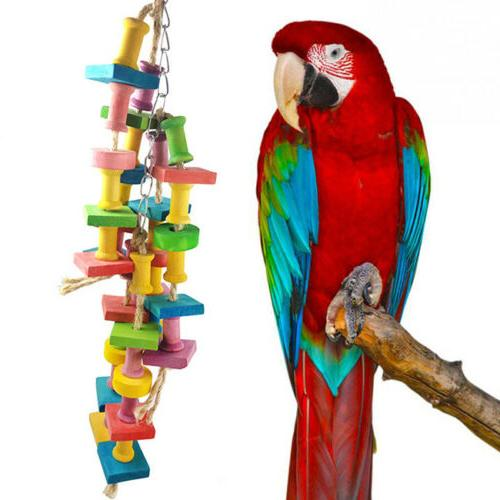 New Pet Parrot Bird Chew Cages Hang Toys Wood Large Rope Cav