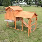 Pawhut Chicken Coop Wood Poultry Rabbit Hutch Hen House Run