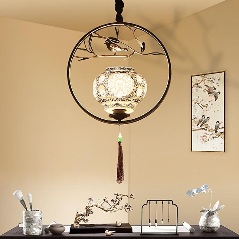 Chinese iron art <font><b>cage</b></font> light study Nordic antique restaurant CL ZS1