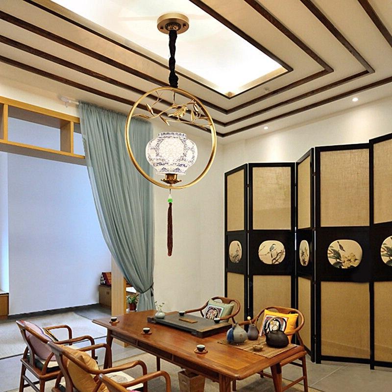 Chinese iron art <font><b>cage</b></font> light study antique restaurant ZS1