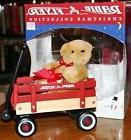 Radio Flyer Christmas Collection Bear on Wood Wagon Table T.