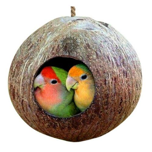 Natural Coconut Shell Bird Nest House Hut Cage Feeder Pet Pa