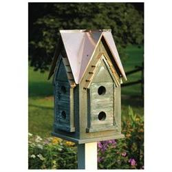Copper Mansion Bird House - Finish: Green with Bright Copper