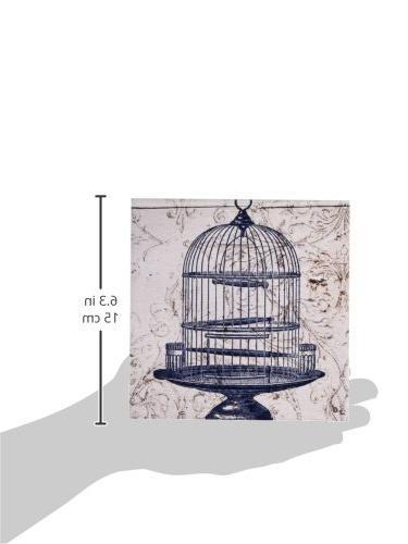 3dRose Round Bird Cage Art-Ceramic Tile,