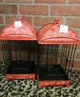Decorative Red Black Metal Roof Wire Bird Cage Hanging NEW P