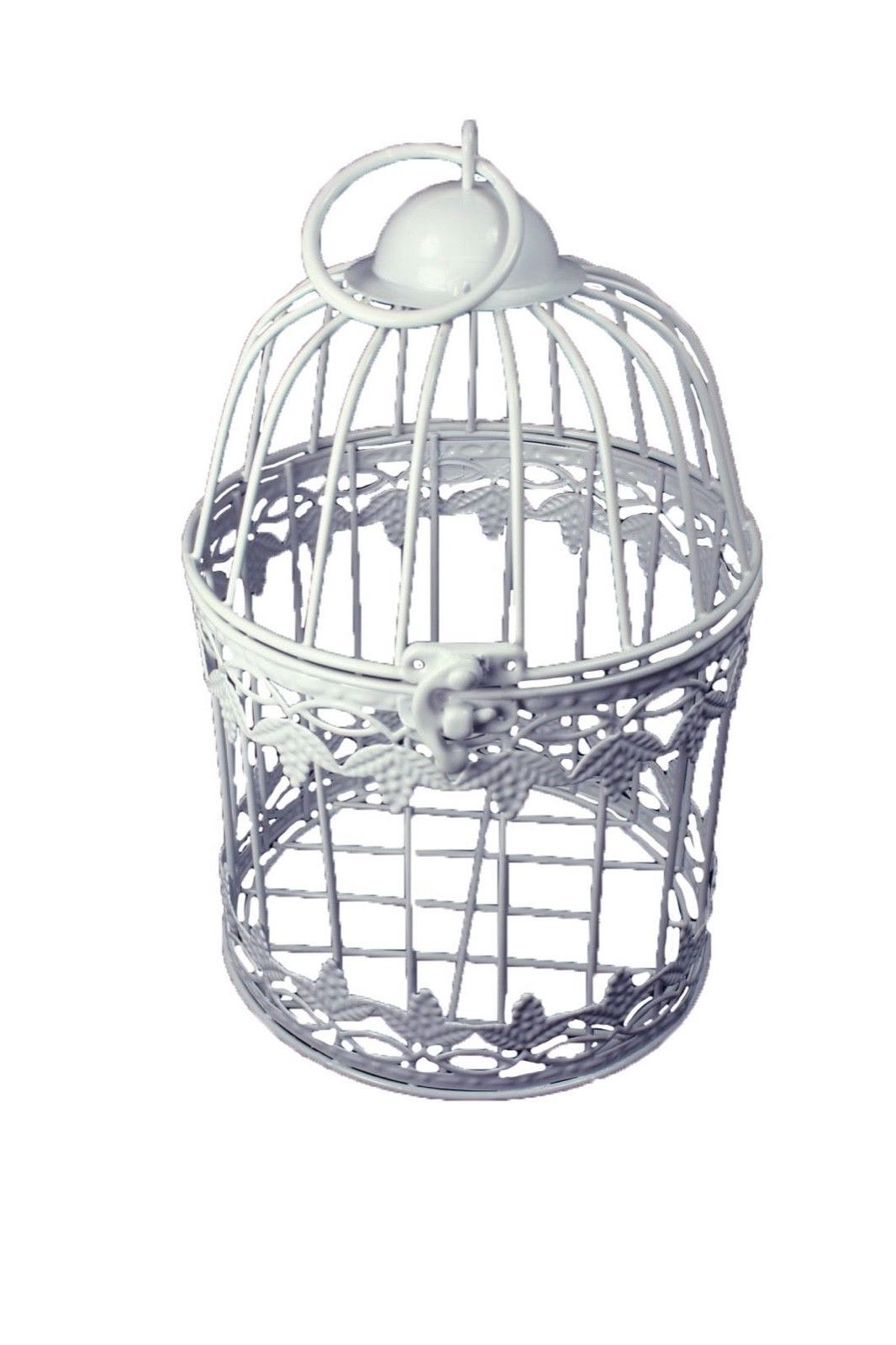 decorative white metal bird cage grape leaf