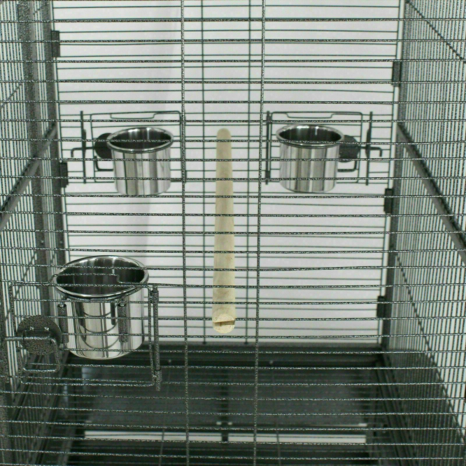 Penn Plax Bird Perch With 2 Stainless Steel Feeding Cups and