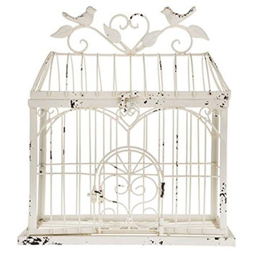 "BEAUTIFUL 14.5"" BIRDCAGE DECOR ANTIQUE WHITE x 13"""