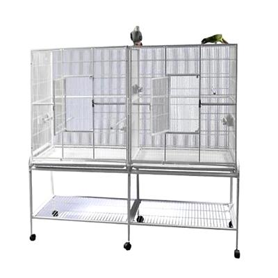 double flight bird cage with divider black