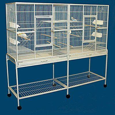 "64"" X-LARGE Double Wrought Iron Bird Cockatiel Finch Aviary"