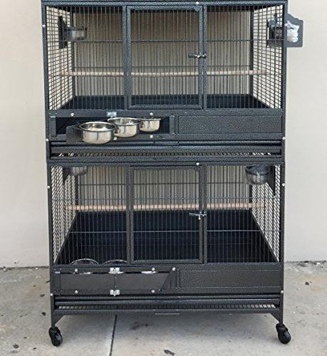 """Mcage NEW Double Stackers 1/2"""" Bar Heavy Duty Parrot Bird Cage 10026"""
