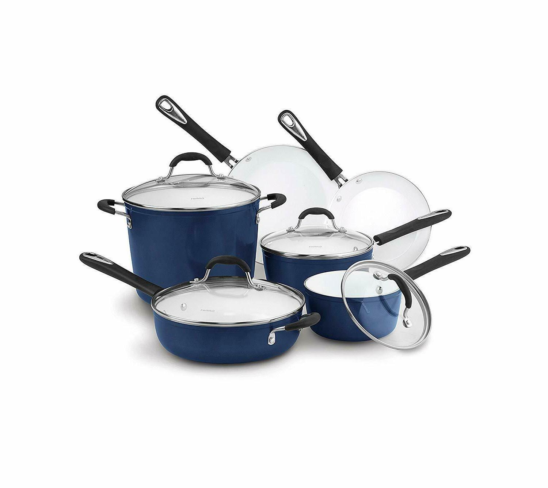 elements 10 pc blue ceramic cookware set