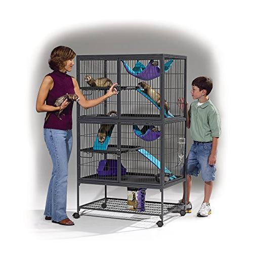 """MidWest Ferret Double Includes 2 leak-Proof 2 Shelves, 3 w/Ramp & locking 36""""L x 62.5""""H Inches"""