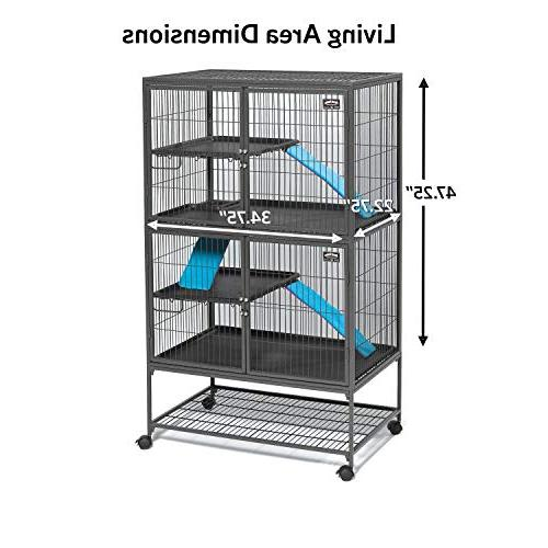 """MidWest Deluxe Ferret Nation Double Unit 2 Shelves, w/Ramp locking 36""""L 25""""W 62.5""""H"""