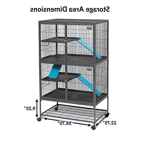 """MidWest Double Ferret Cage Includes 2 2 Shelves, 3 Ramps w/Ramp & locking 36""""L x 62.5""""H"""