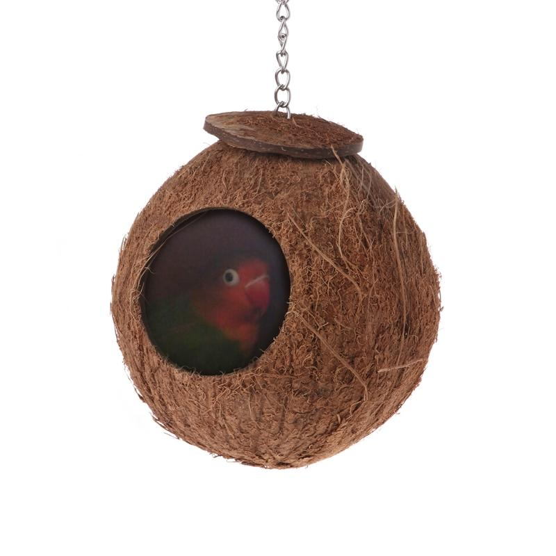 <font><b>Bird</b></font> Parrot Nest Natural Coconut Shell Chain <font><b>Cage</b></font> House