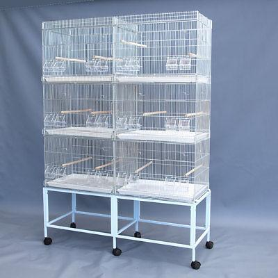 6x Galvanised Cages on Stand Canary Parakeet Budgie Cockatiel