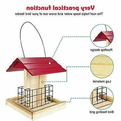 Garden Suet Bird Feeder Wood Bird Bird With 2 Suet Cages