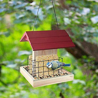 Garden Feeder Wood Cedar Bird With Suet Cages Gre