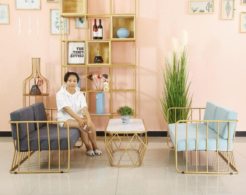 Golden simple sofa, and chair combination, creative iron <font><b>cage</b></font>