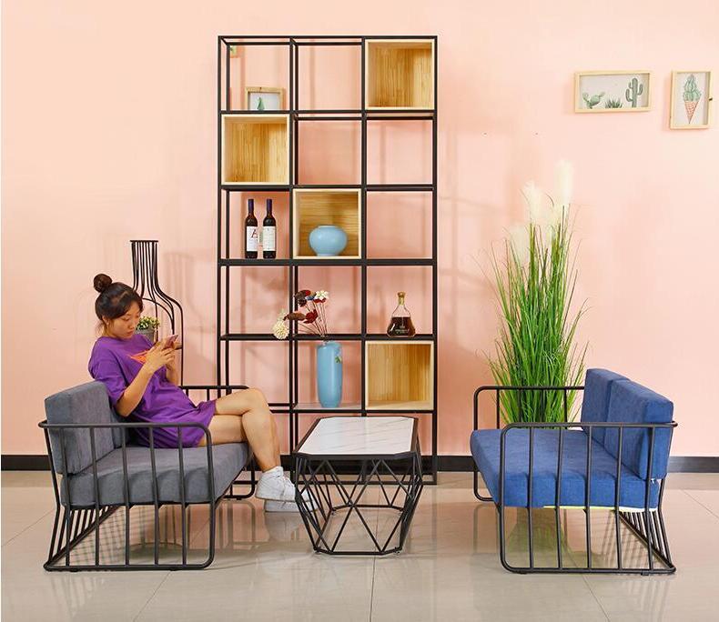 Golden sofa, table and combination, iron screen <font><b>bird</b></font> <font><b>cage</b></font> shelf