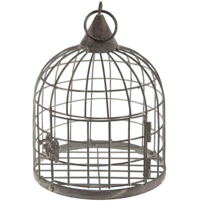 Gray Distressed Metal Bird Cage Antique Rusty Home Accent