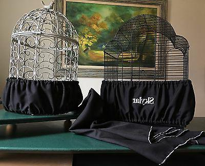handcrafted black fabric bird cage skirt seed