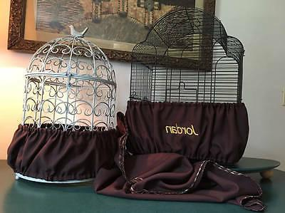 Handcrafted Brown Fabric Bird Cage Seed Catcher Skirt Guard