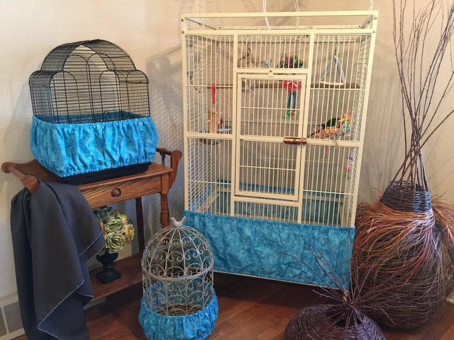 handcrafted turquoise blue fabric bird cage seed