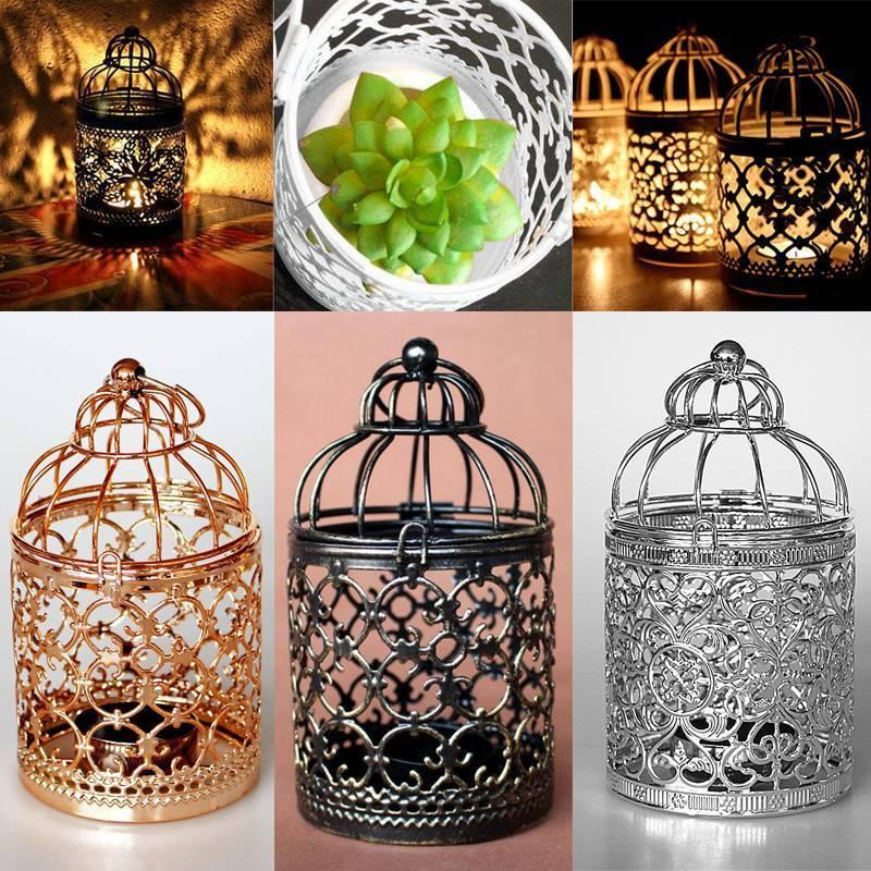 hanging bird cage candle holder retro iron