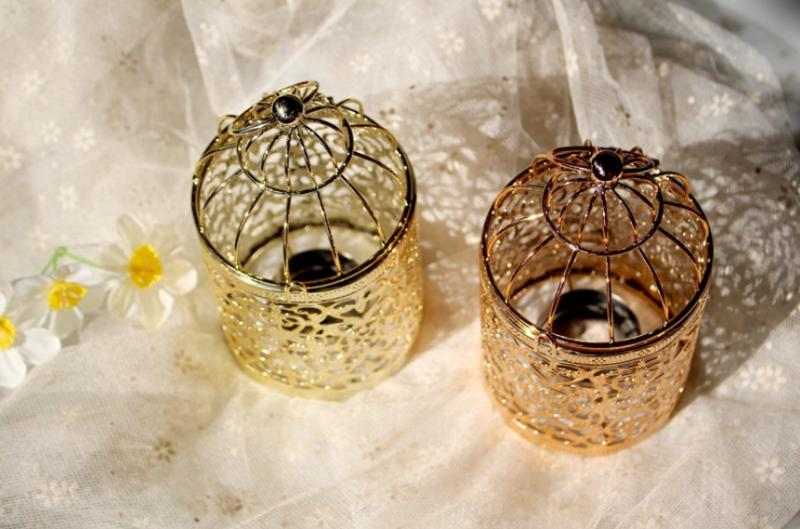 Hollow Bird Cage Candle Holder Candlestick Hanging Lantern Home