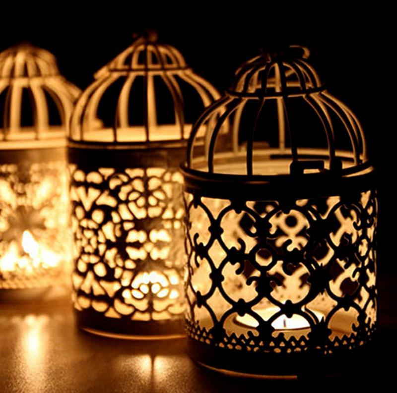 hollow bird cage candle holder tealight candlestick