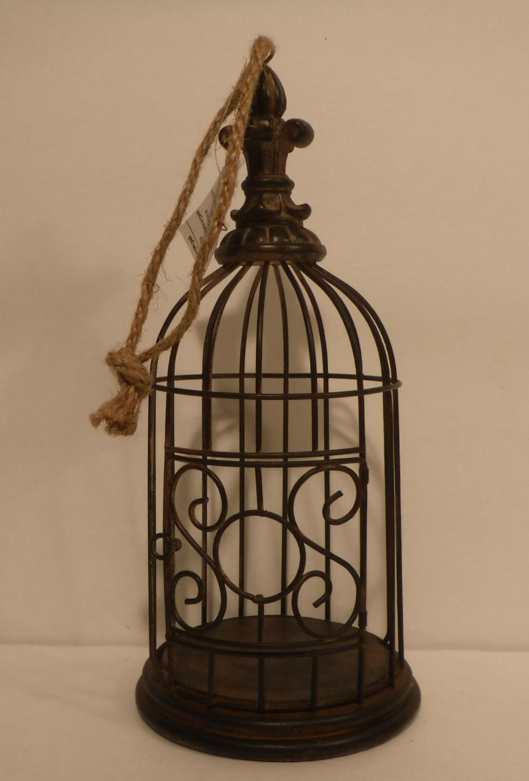 Home Accents Hanging Metal Bird Cage W/Wood Base Home Decor